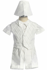 Boy's White Satin Short Set