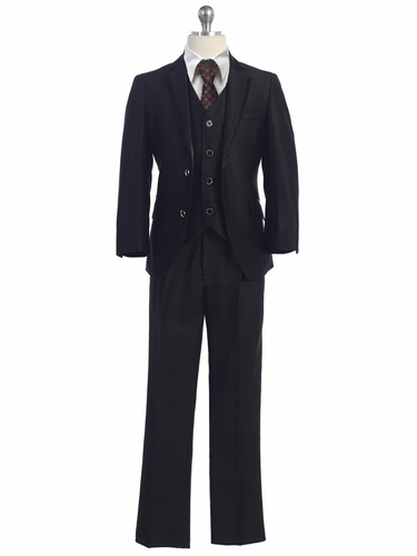 Boys 5 PC Black Suit w/ Satin Trim Detail