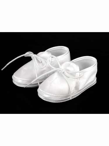 Boys Baptism Christening Satin Booties w/ Cross