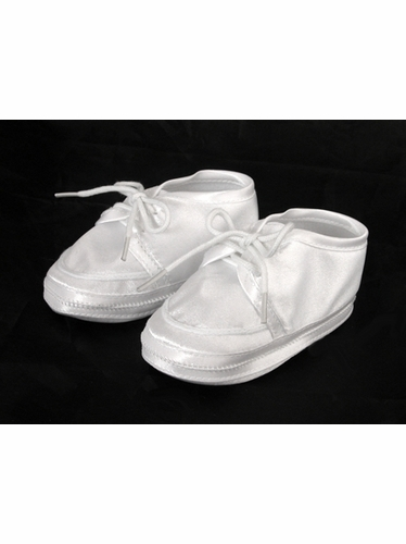 Boys Baptism Christening Satin Booties w/ Lace