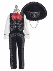 Boys Black Charro Suit w/ Hat