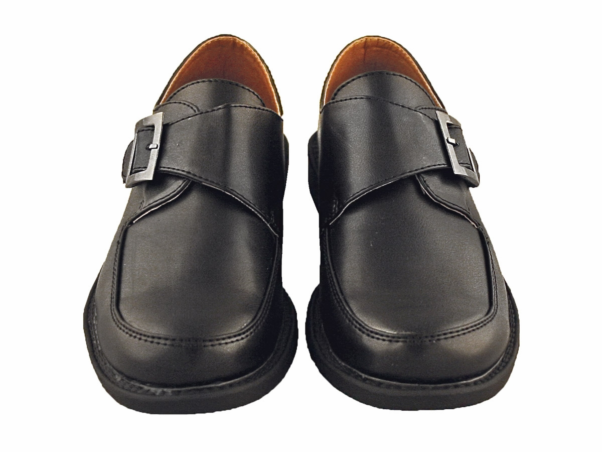 Boys Black Dress Shoes with Velcro Buckle Strap