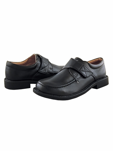 Boys Black Dress Shoes with Velcro Strap