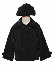 Boys Black Fleece Peacoat