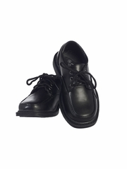 Boys Black Lace Up Matt Dress Shoes