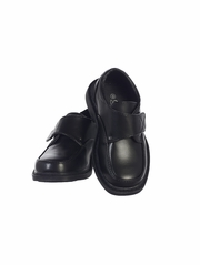 Boys Black Matte Shoes w/ Velcro Strap