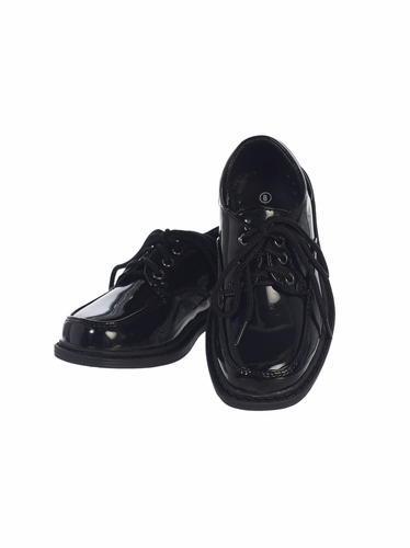 Boys Black Patent Lace-Up Shoes