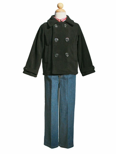 Boys Black Peacoat & Jeans Set