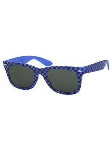 Boys Blue Plastic Neon Checkered Temple Sunglasses