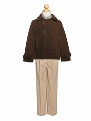 Boys Brown Peacoat & Khaki Pants Set