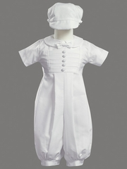 Boys Christening 2 Piece Poly Cotton Romper Set