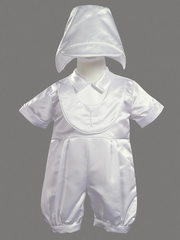 Boys Christening 2 Piece Satin Romper
