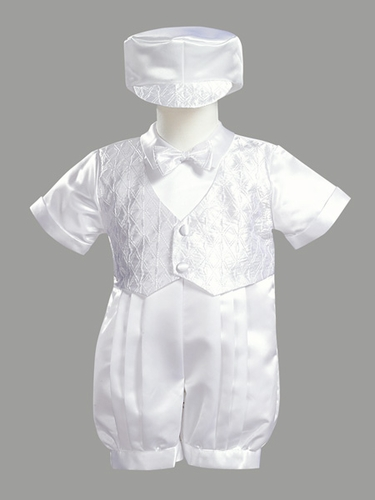 Boys Christening 2 Piece Satin Romper w/ Vest Set