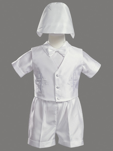 Boys Christening 4 Piece Shantung Vest & Short Set