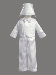 Boys Christening 5 Piece Vest & Satin Pants Set