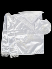 Boys Christening Blanket with Embroidered Cross w/ Bib, Hanky, & Shawl