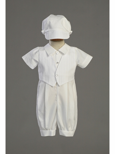 Boys Christening Cotton Romper w/Embroidered Cotton Vest