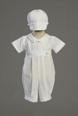 Boys Christening Cotton Seersucker Romper