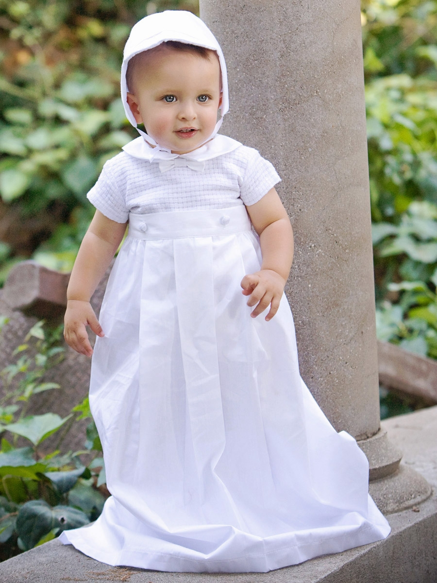 4878174d0e14 Boys Christening Cotton Weaved Romper w/ Detachable Gown