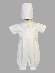 Boys Christening Matt Satin Romper