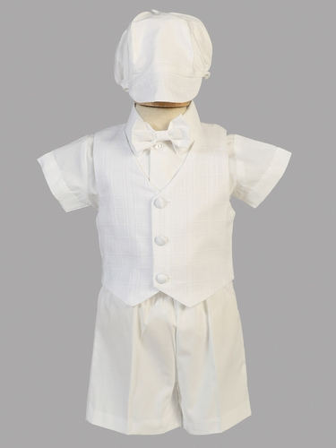Boys Christening Cotton Plaid Eton & Short Set