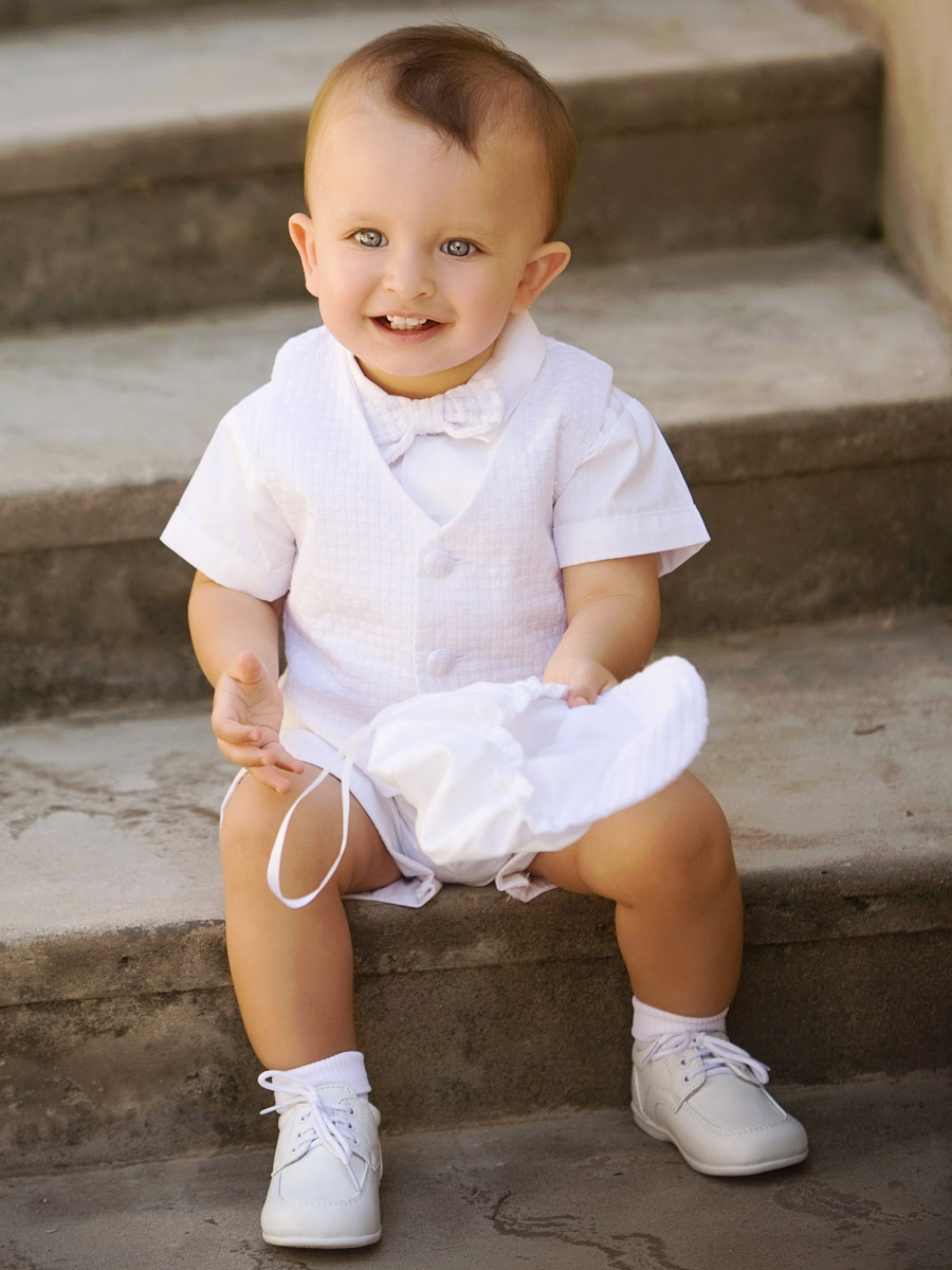 Boys Christening Polycotton Short Set w/Basketweave Vest