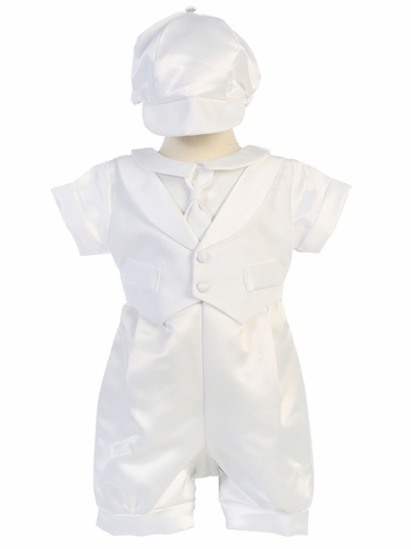 Boys Christening Satin Romper w/ Pique Vest