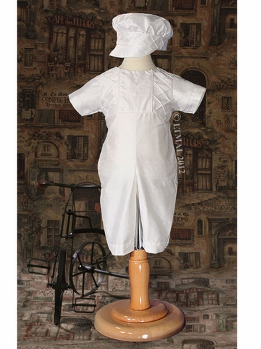 Boys Christening Silk Heirloom Romper w/ Captain Hat
