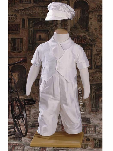 Boys Christening Vested Coverall w/ Hat