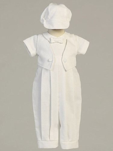 Boys Christening White Poly Cotton Long Romper w/ Sewn-On Vest