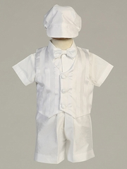 Boys Christening White Shantung Striped Organza Vest w/ Shantung Shorts