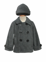 Boys Gray Fleece Peacoat
