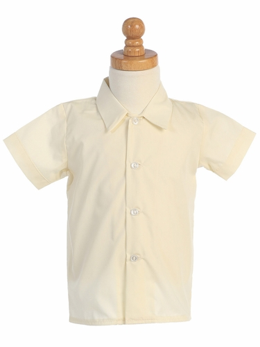 Boys Ivory Short Sleeve Dress Shirt
