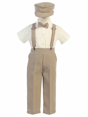 Boys' Khaki Shortsleeve Suspender Pant Set w/ Hat