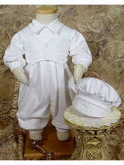 Boys Long Sleeve Pant Overall Christening Set w/ Hat