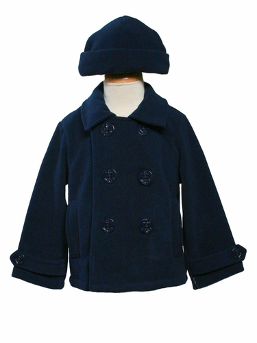 Boys Navy Fleece Peacoat
