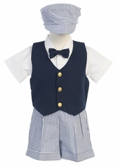 Boys Navy Vest w/ Striped Seersucker Shorts