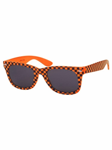 Boys Orange Plastic Neon Checkered Temple Sunglasses