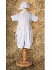 Boys Pin Tucked Christening Coverall w/ Cap