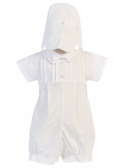 Boys Poly Cotton Romper w/ Pleats