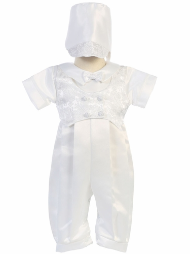 Boys Satin Long Romper w/ Jacquard Vest