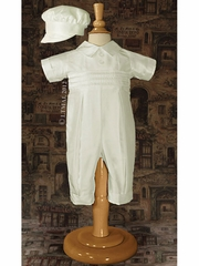 Boys Silk Christening Coverall w/ Pin Tucking & Hat