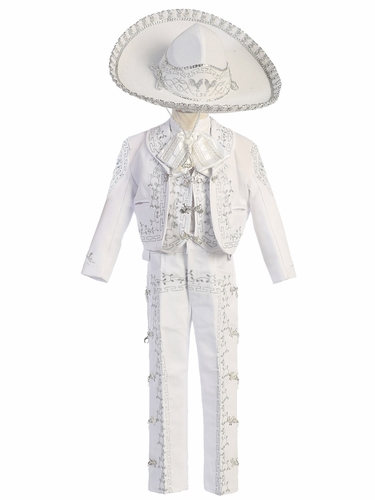 Boys White Charro Suit w/ Hat