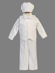 Boys White Christening Cotton Weaved Vest w/ Cotton Pants