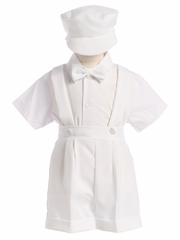 Boys White Jumper Shorts Set with Cap
