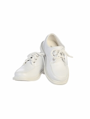 Boys White Lace Up Matte Dress Shoes