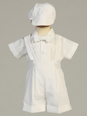 Boys White Poly Cotton Set w/ Suspendered Shorts