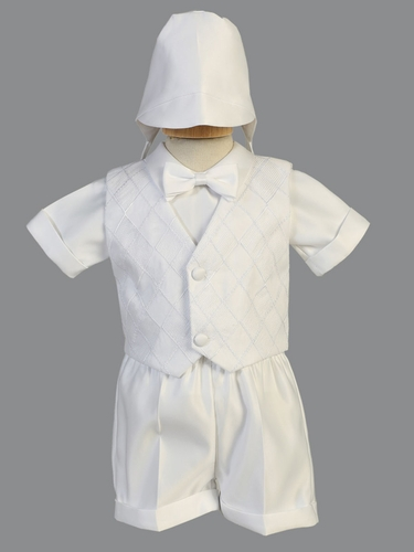 Boys White Satin Christening Shorts Set w/ Diamond Organza Vest