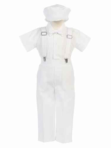 Boys' White Shortsleeve Suspender Pant Set w/ Hat