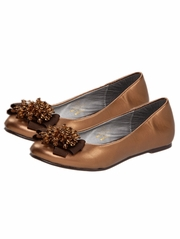 Bronze Laura Ashley Pearl Bow Ballerina Girls Shoes